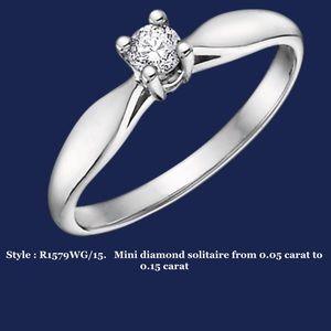 14K White Gold Ring - 0.05 Round Cut Diamond